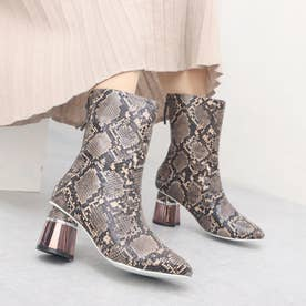 SQUARE BOOTIES (BEIGE(PYTHON))
