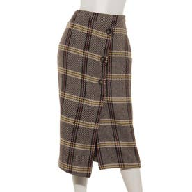 CHECK TIGHT SKIRT (BROWN)