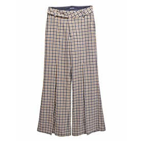 PLEATED FLARE PANTS (BEIGE(CHECK))
