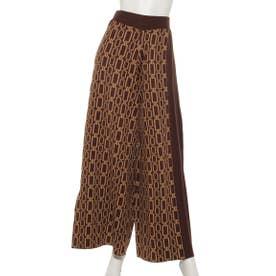 CHAIN JACQUARD KNIT PANTS (BROWN×CAMEL)