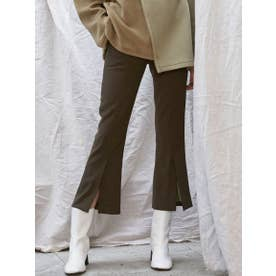 FRONT SLIT CROPPED PANTS (KHAKI)