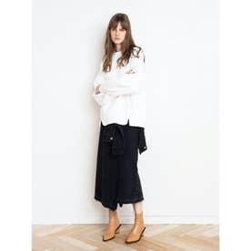 ラップデザインデニムスカート (ブラック)