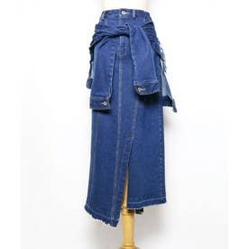 ラップデザインデニムスカート (ブルー)