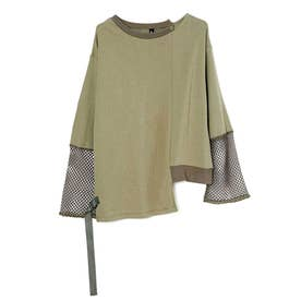 MESH DOCKING SMOOTH LONG T-SHIRT (KHAKI)