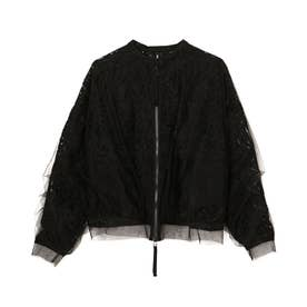 TULLE LAYERED LACE BLOUSON (BLACK)