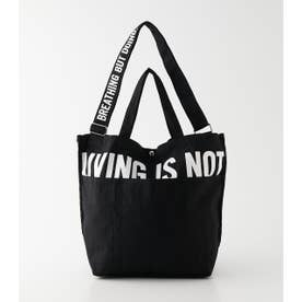 LIVING IS NOT LOGO TOTE BAG BLK