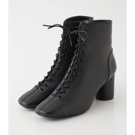 SQUARE TOE LACE UP BOOTS BLK