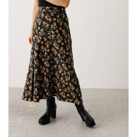 FLOWER PATTERN SIDE SLIT SKIRT/フラワーパターンサイドスリットスカート 柄BLK