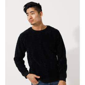 BRUSHED BORDER C/N LONG TEE/ブラッシュドボーダークルーネックロングTシャツ 柄BLK