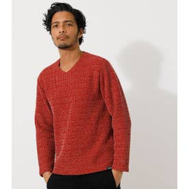 BRUSHED WAFFLE V/N LONG TEE 柄RED5
