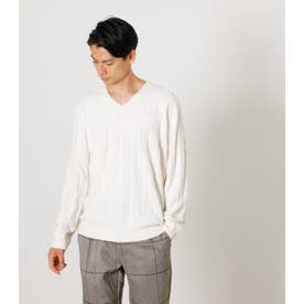 NUDIE KNIT V/N CABLE PULLOVER O/WHT1