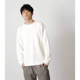 CABLE KNITTING PULLOVER WHT