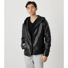 ECO LEATHER HOODED BLK