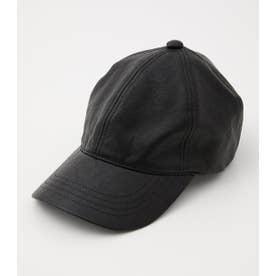 FAUX LEATHER CAP BLK