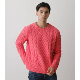 CHENILLE CABLE PULLOVER PNK