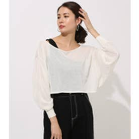 ONE-SHOULDER KNIT SET TOPS O/WHT