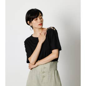 SHOULDER LACE UP TOPS/ショルダーレースアップトップス BLK