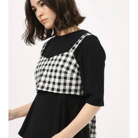GINGHAM CHECK BUSTIER TOPS 柄BLK5