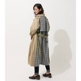 MIX FABRIC TRENCH COAT 柄BEG5