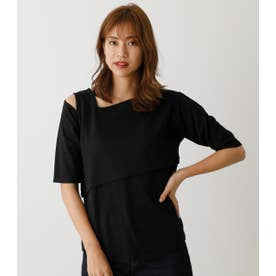 ASYMMETRY FAKE LAYERED TOPS2 BLK