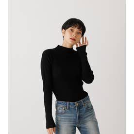 SNOWY HIGH NECK KNIT TOPS BLK
