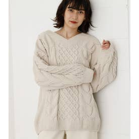 CHENILLE CABLE V/N KNIT TOPS IVOY3