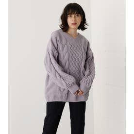 CHENILLE CABLE V/N KNIT TOPS L/PUR1