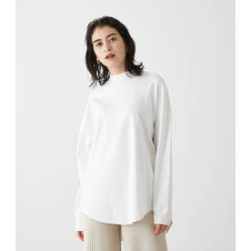 MOCK NECK BACK BUTTON L/S TEE O/WHT1