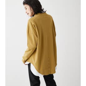 MOCK NECK BACK BUTTON L/S TEE YEL