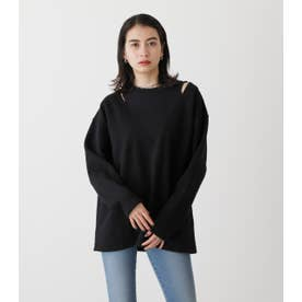 FACKLAYERED SHOULDER SLIT TOPS BLK