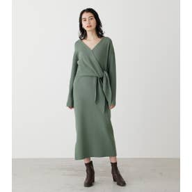 FRONT LINK KNIT ONEPIECE GRN