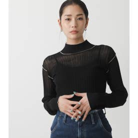 SHEER COLOR STITCH KNIT TOPS BLK