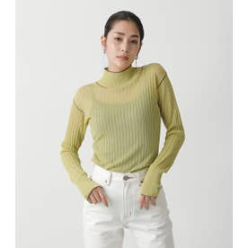 SHEER COLOR STITCH KNIT TOPS L/GRN1
