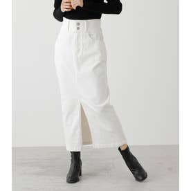 HIGH WAIST SLIT DENIM SK 2 WHT