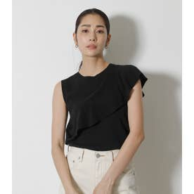 ROUND FRILL KNIT TOPS BLK