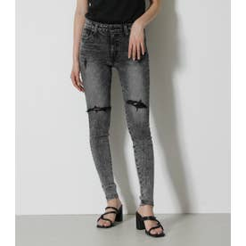 CHEMICAL CRASH DENIM SKINNY L/BLK1