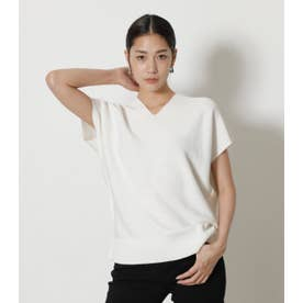 LOOSE PANEL KNIT TOPS O/WHT1