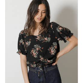 FRONT GATHER FLOWER BLOUSE 柄BLK5