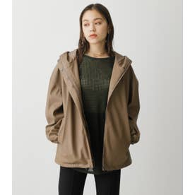 FAUX LEATHER HOODIE BZ D/BEG3