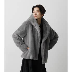 FLUFFY HOODIE SHORT COAT GRY