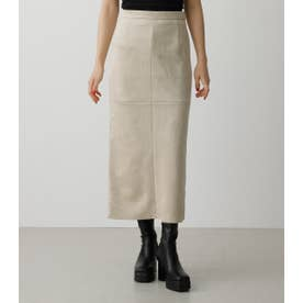 FAUX SUEDE SLIT SKIRT IVOY3