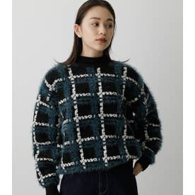 SHAGGY CHECK KNIT TOPS 柄BLK5