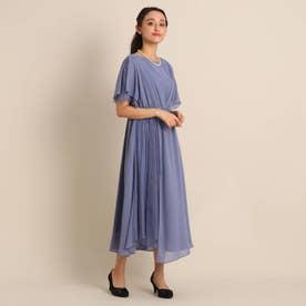 Luxe brille サイドレースジョーゼットロングドレス (ブルー)