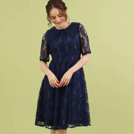 Dorry Doll レース衿ラメレースドレス (ネイビー)