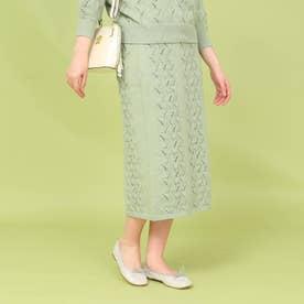 【セットアップ/手洗い可】コットン混すずらんニットスカート (ライトグリーン)