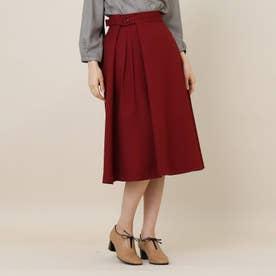 【手洗い可】女子の味方♪アシンメトリータックのカラースカート (ボルドー)