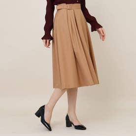 【手洗い可】女子の味方♪アシンメトリータックのカラースカート (ベージュ)
