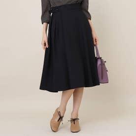 【手洗い可】女子の味方♪アシンメトリータックのカラースカート (ブラック)