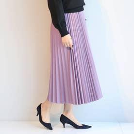 フェイクレザープリーツスカート (ライトパープル)