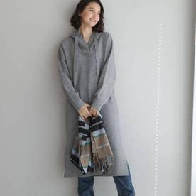 【WEB限定商品/スムース編みフードパーカーニットワンピース】 (グレー)